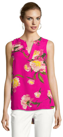 Sleeveless Printed High Low Top with Spliced V-Neckline