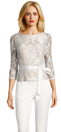 Embroidered Lace Top with Sheer Three Quarter Sleeves