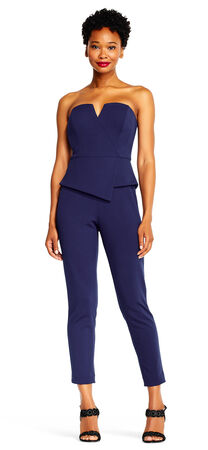 Strapless Asymmetrical Peplum Jumpsuit with Cropped Legs