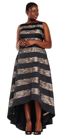 High Low Ball Gown with Lace Inset Stripes