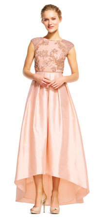 High Low Taffeta Ball Gown with Floral Beading