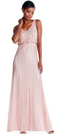 Sleeveless Blouson Gown with Art Nouveau Beading