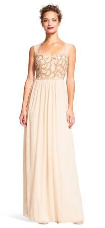 Chiffon Dress with Rose Beaded Bodice