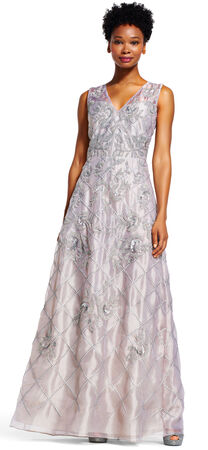 Beaded Floral Organza Gown with Sequin Insets