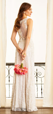 Floral Organza Dress with Sheer Neckline and Open Back