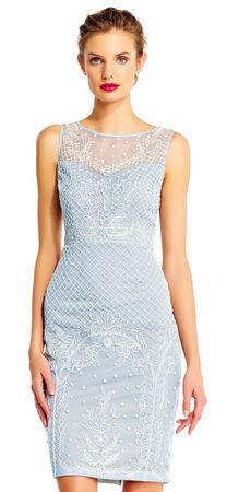 Sleeveless Pearl Beaded Sheath Dress with Illusion Neckline