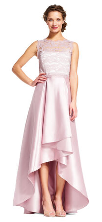 Mikado High Low Ball Gown with Scroll Lace Accents