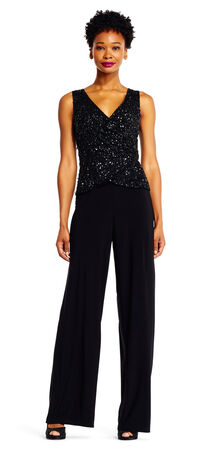 Jersey Jumpsuit with Sequin Beaded Bodice
