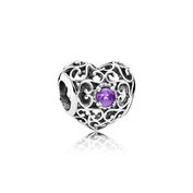 February Signature Heart, Synthetic Amethyst