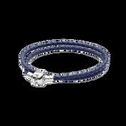 Dark Blue Braided Double-Leather Charm Bracelet