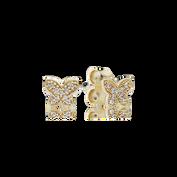 Petite Butterfly Stud Earrings, Clear CZ, 14K Gold