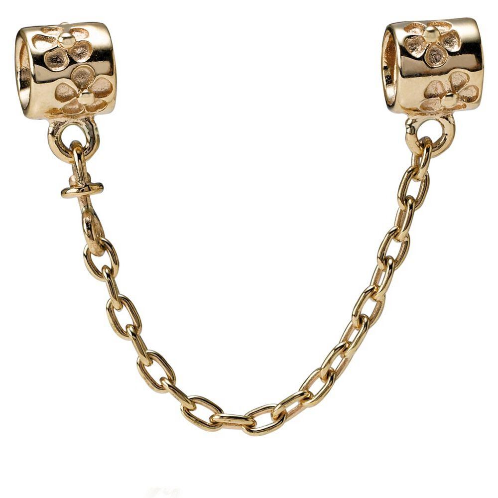 flower charm safety chain 14k gold pandora jewelry us