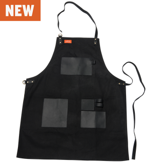 Apron - Black Canvas & Leather