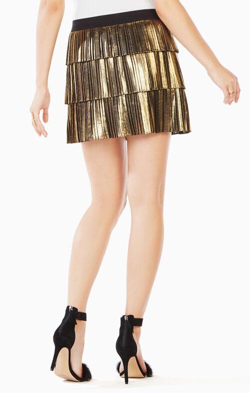 Zana Pleated Metallic Skirt