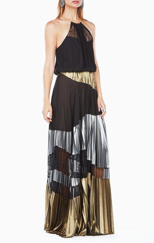 Delana Metallic-Blocked Dress