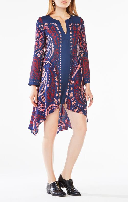 Geena Paisley Print-Blocked Dress
