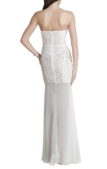 Vivienne Lace-Blocked Strapless Dress