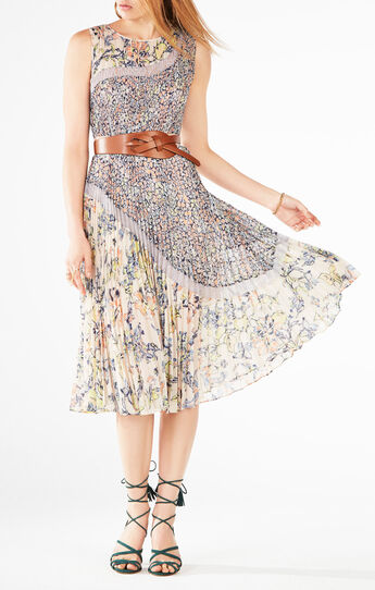 Camella Floral Print-Blocked Dress