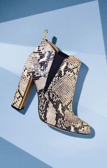 Tilly High-Heel Snake Embossed Leather Bootie