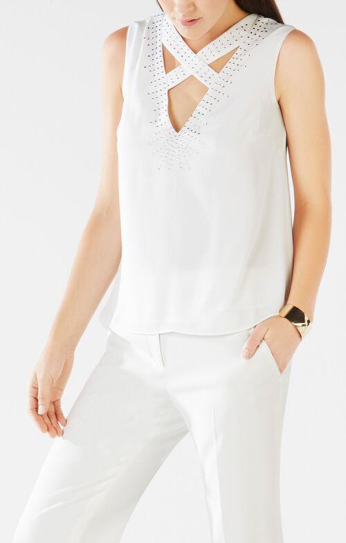 Joline Studded Crisscross-Neck Top