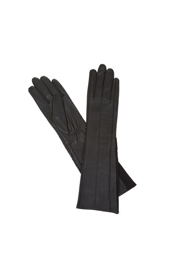 Long-Knit Inset Leather Gloves