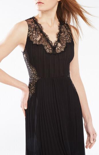 Angelea Lace-Trim Pleated Dress