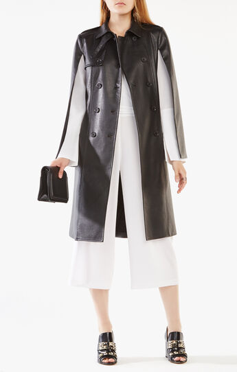 Lambert Faux-Leather Cape Trench Coat