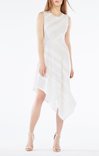 Tracie Asymmetrical Striped Lace Dress
