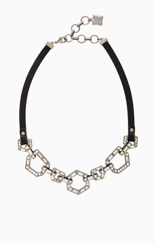 Leather Stone-Link Necklace