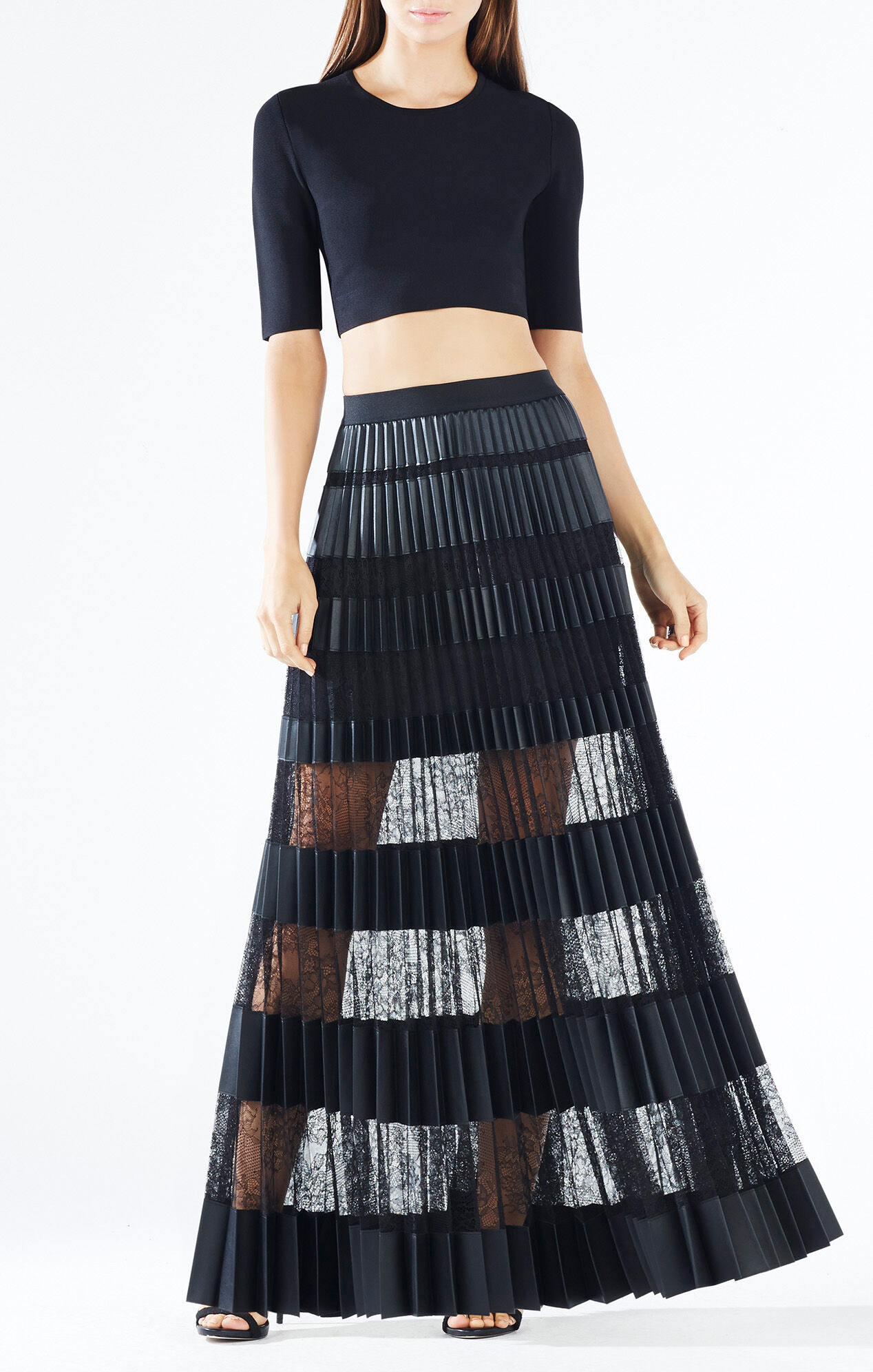 krissy faux leather striped maxi skirt