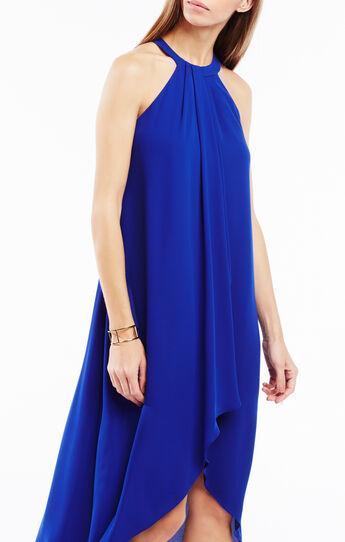 Lanna High-Low Draped Ruffle Dress