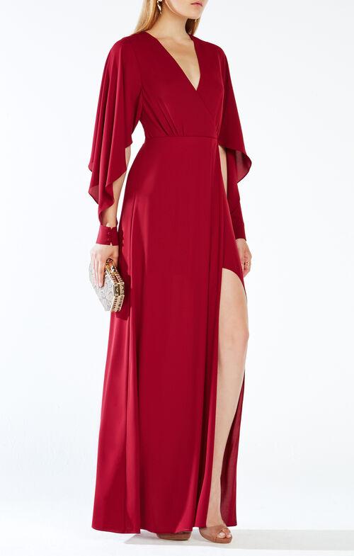 Doran Draped-Sleeve Gown