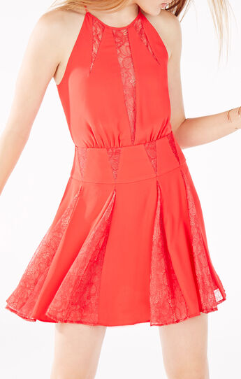 Teena Lace Inserts Halter Dress