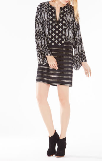 Amilia Tapestry Print-Blocked Tunic Dress