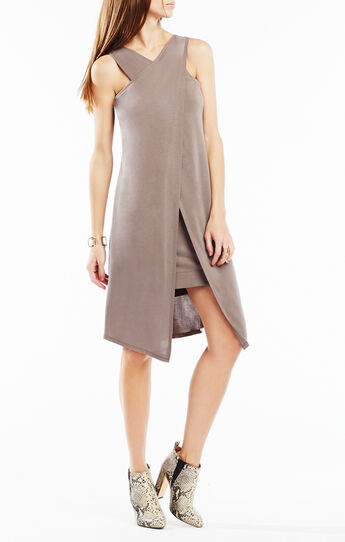 Louren Crossover Layered Jersey Dress