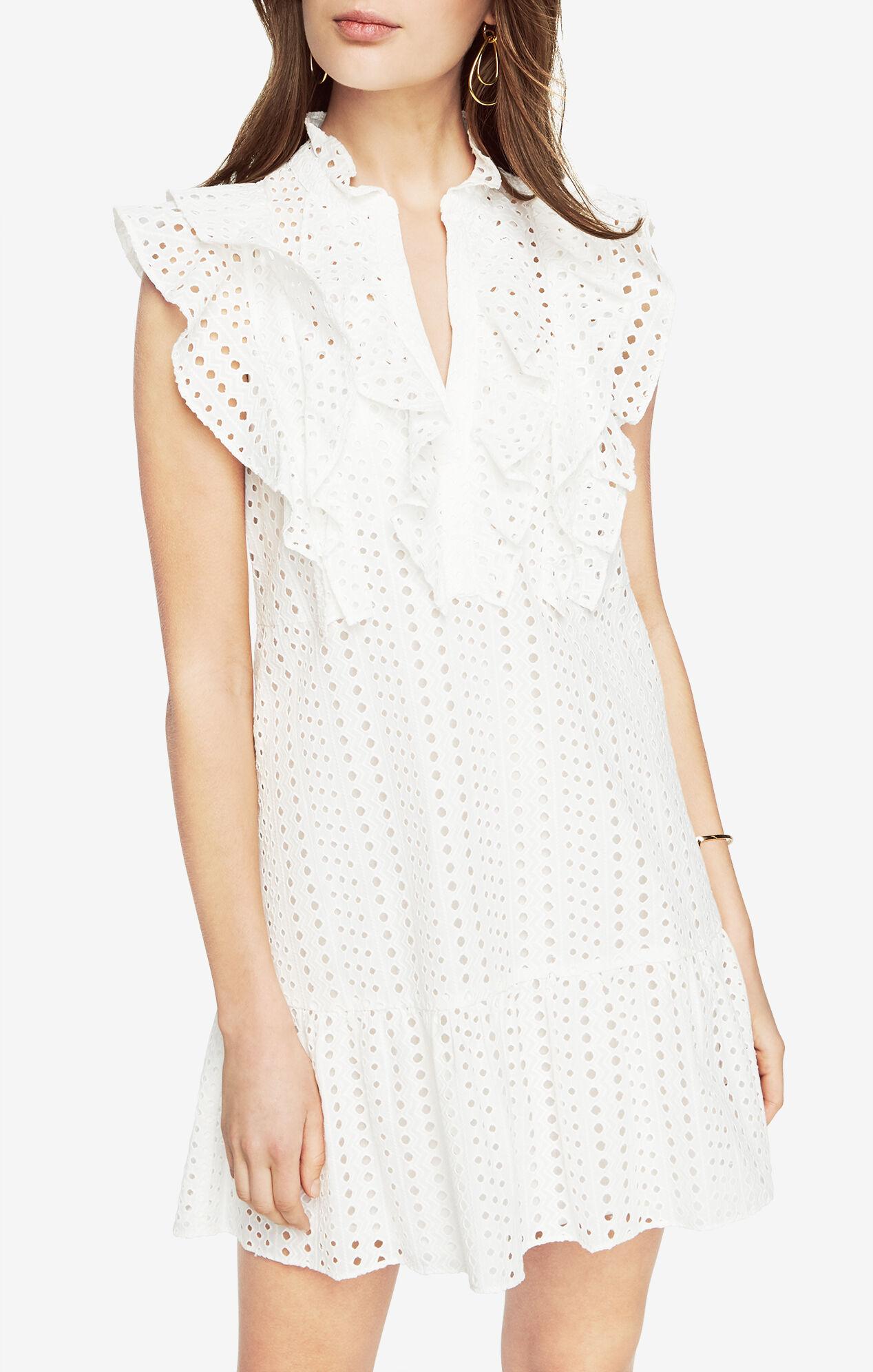 White dress cocktail - Alicia Ruffled Eyelet Dress