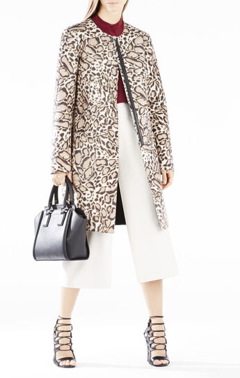 Mickie Spotted Ocelot Faux-Fur Coat