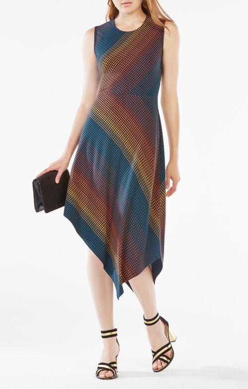 Tracie Striped Asymmetrical Dress