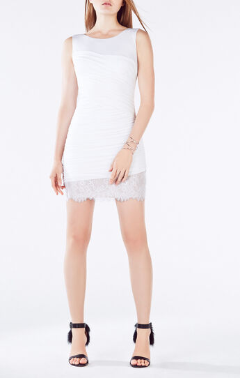 Renay Lace-Blocked Ruched Dress