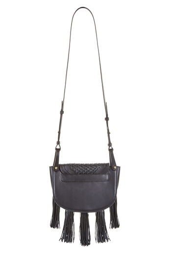 Fabiola Woven Leather Tassel Saddle Bag