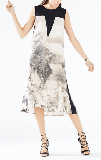 Becka Dreamscape Print-Blocked Dress