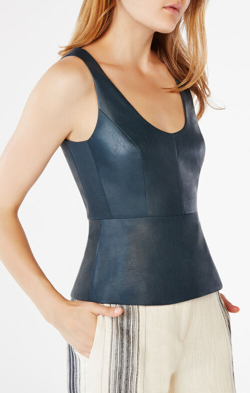 Cladiana Faux-Leather Peplum Top