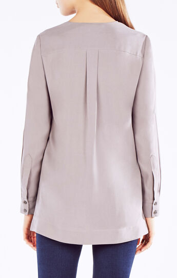 Sharri Zip-Front Silk Blouse
