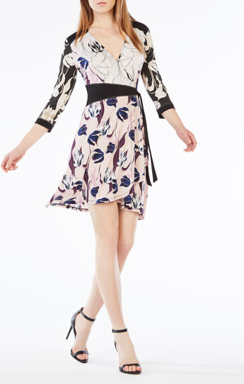 Adele Tulip Print-Blocked Wrap Dress