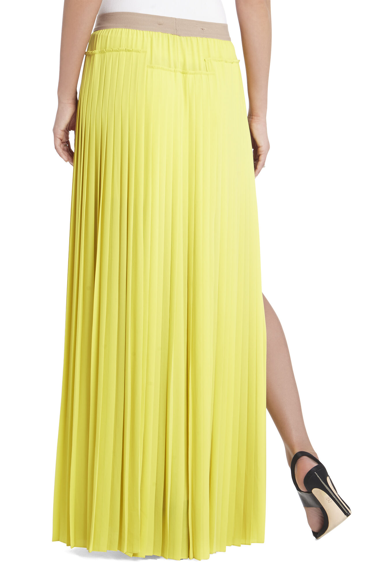 bcbgmaxazria dillon pleated paneled maxi skirt bcbg