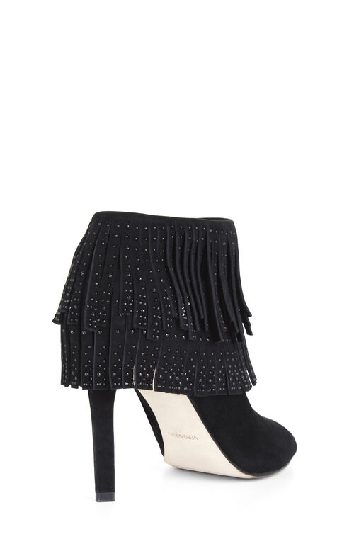 Raimi High-Heel Fringe Suede Ankle Bootie