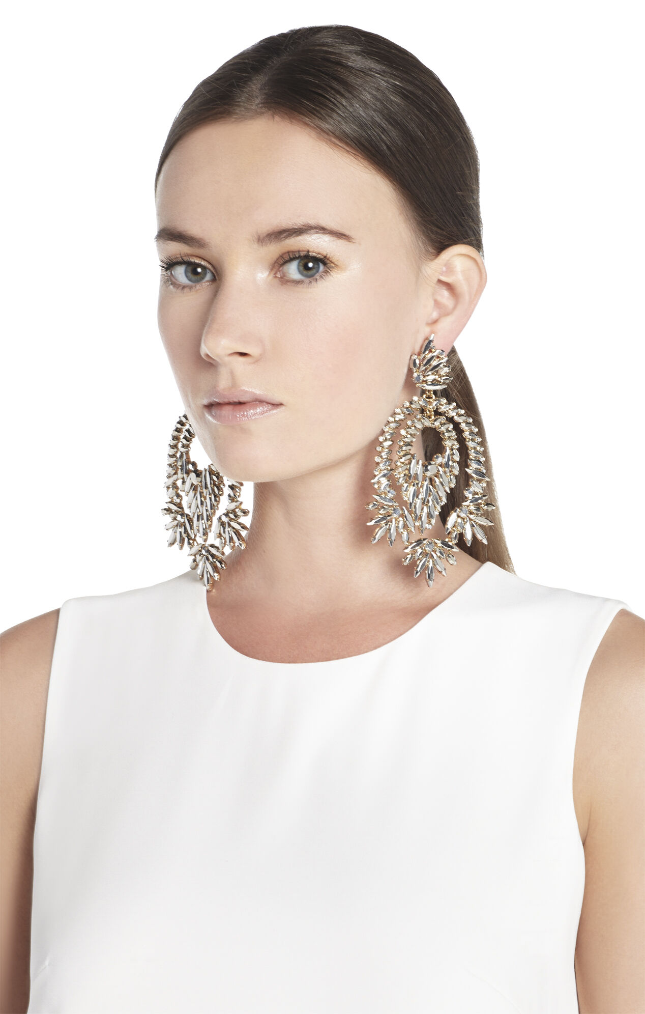BCBGMAXAZRIA Metallic Stone Statement Earrings – Oversized Chandelier Earrings