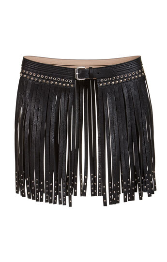 Fringe Studded Faux-Leather Waist Belt