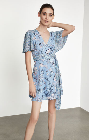 Kylie Floral Print-Blocked Wrap Dress