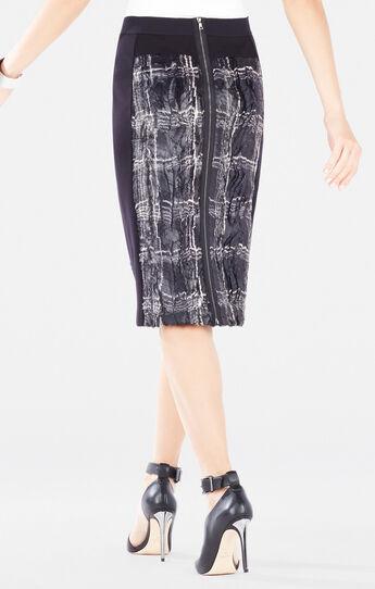 Ines Coated Plaid Faux-Fur Pencil Skirt
